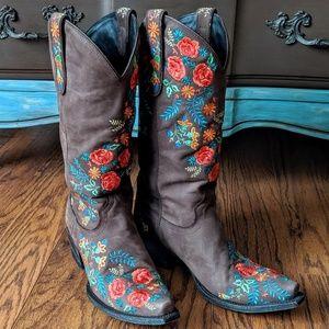 Lane Prairie Rose western cowboy riding boots